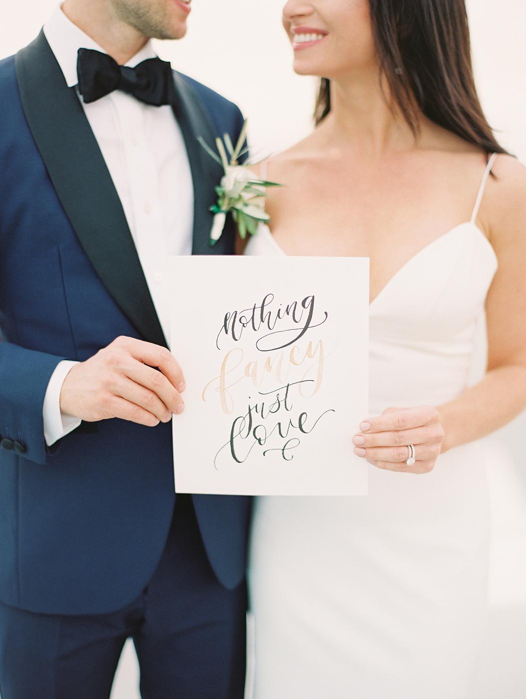 Sam Allen Creates – Wedding Nothing Fancy Just Love Sign – Santorini Greece Wedding