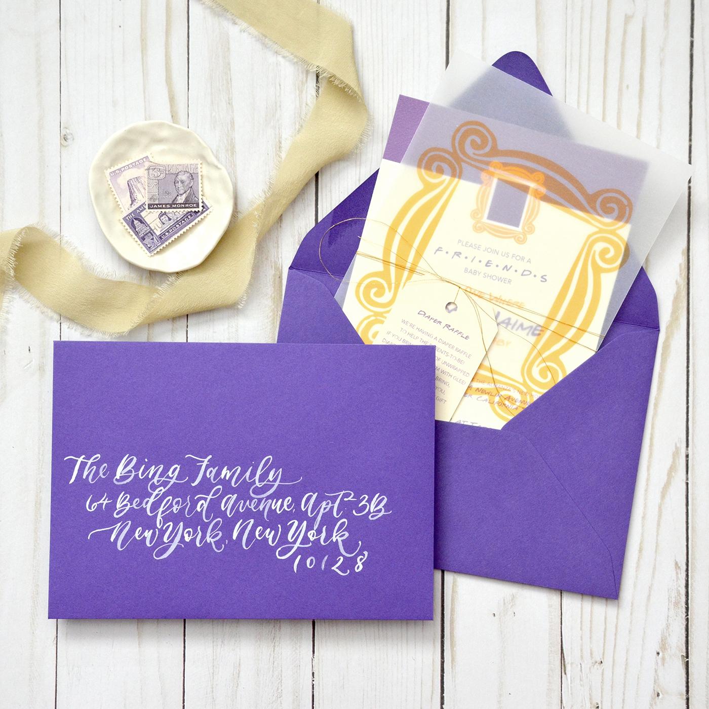 Sam Allen Creates – Friends Themed Baby Shower with Purple Envelope Brush Calligraphy Addressing