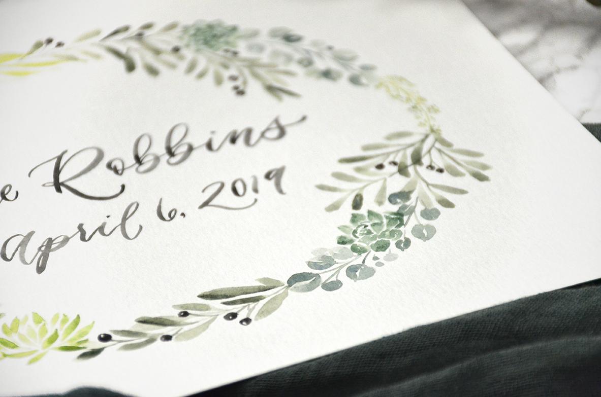 Sam Allen Creates – Watercolor Custom Painted Succulent and Botanical Wreath – Last Name Established Sign Detail