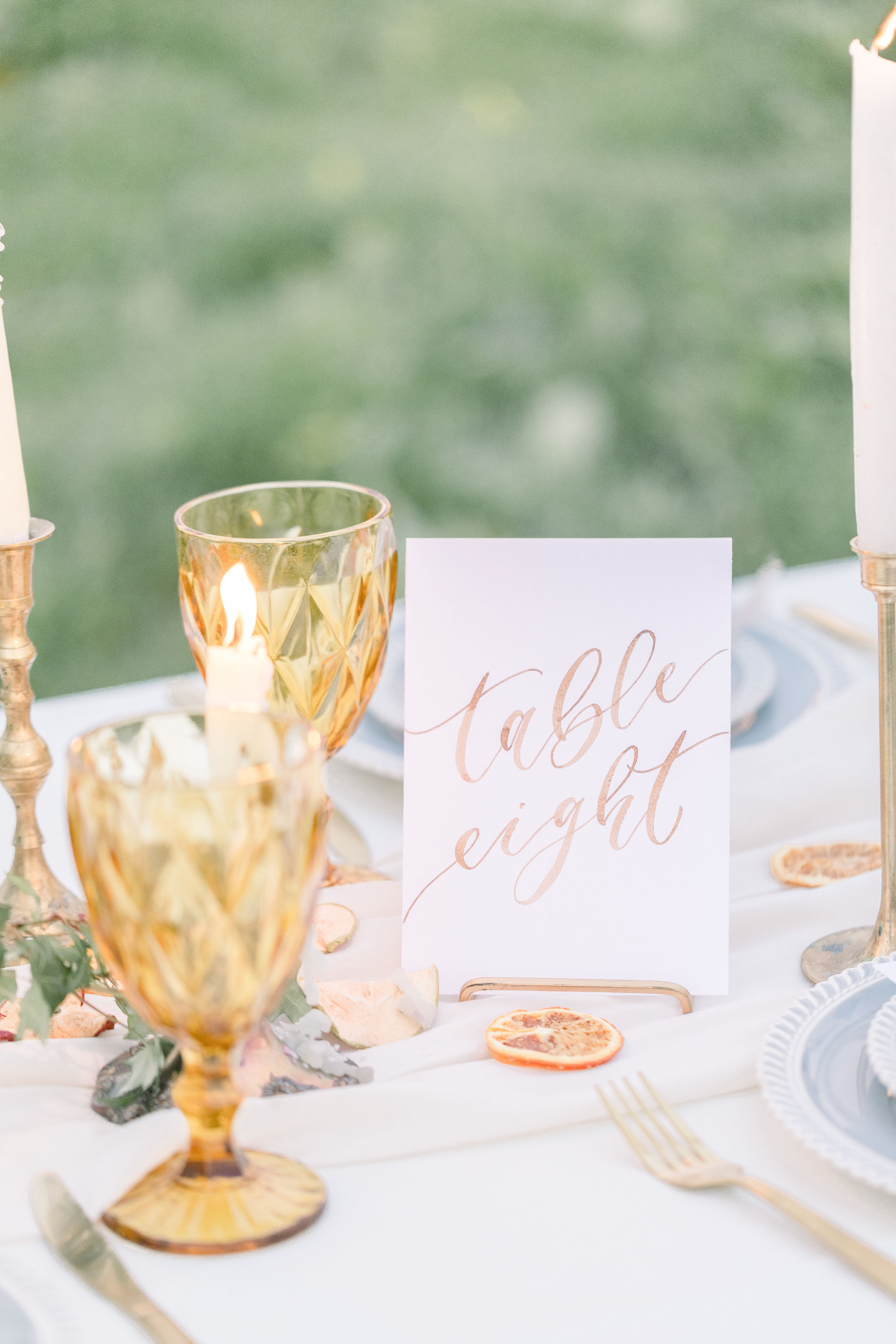 StephanieWeberPhotography-Brown Wedding Reception Tablescape – Sam Allen Creates Watercolor Table Number Card