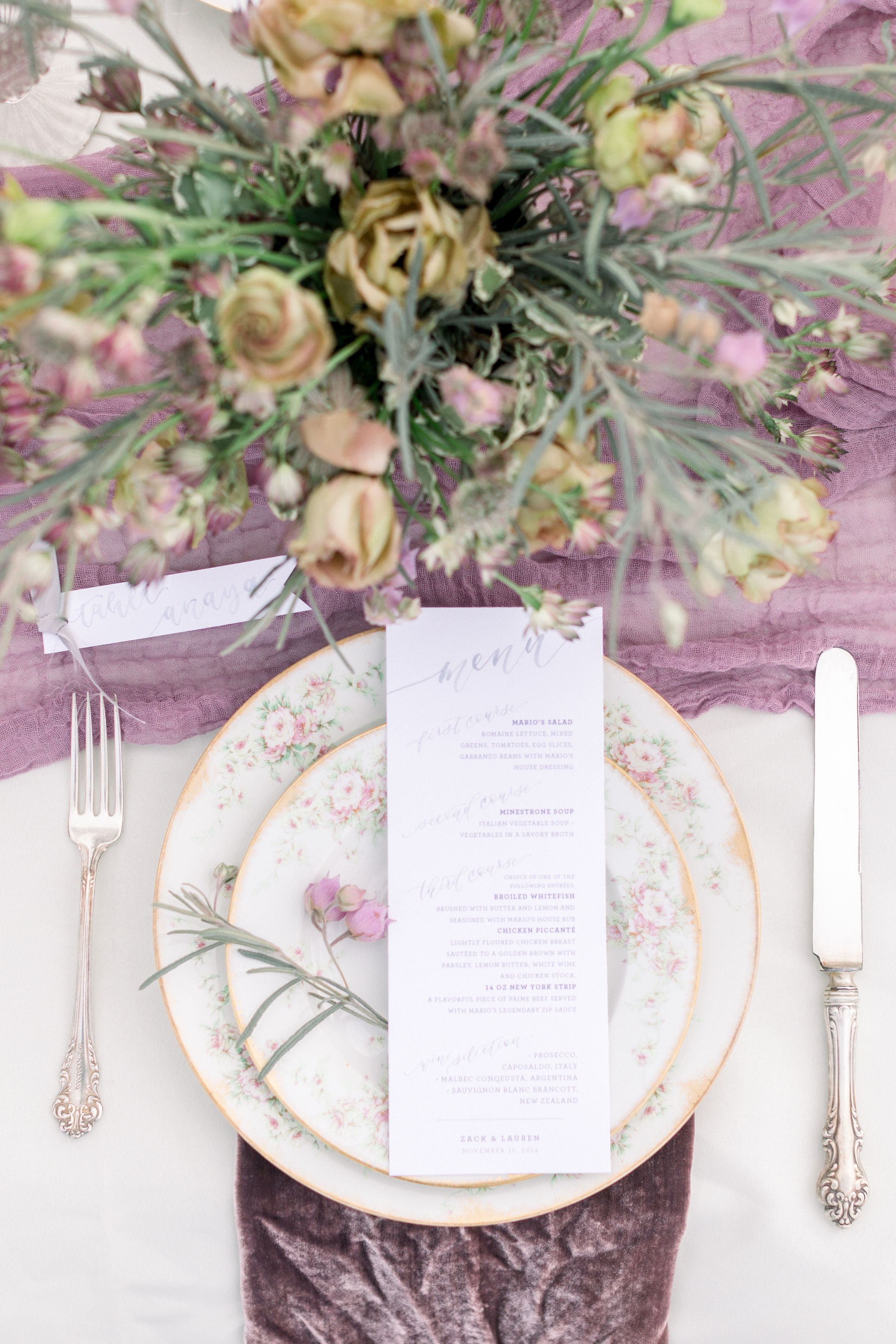 StephanieWeberPhotography-Gray and Purple Tablescape – Sam Allen Creates Watercolor Menus and Placecards