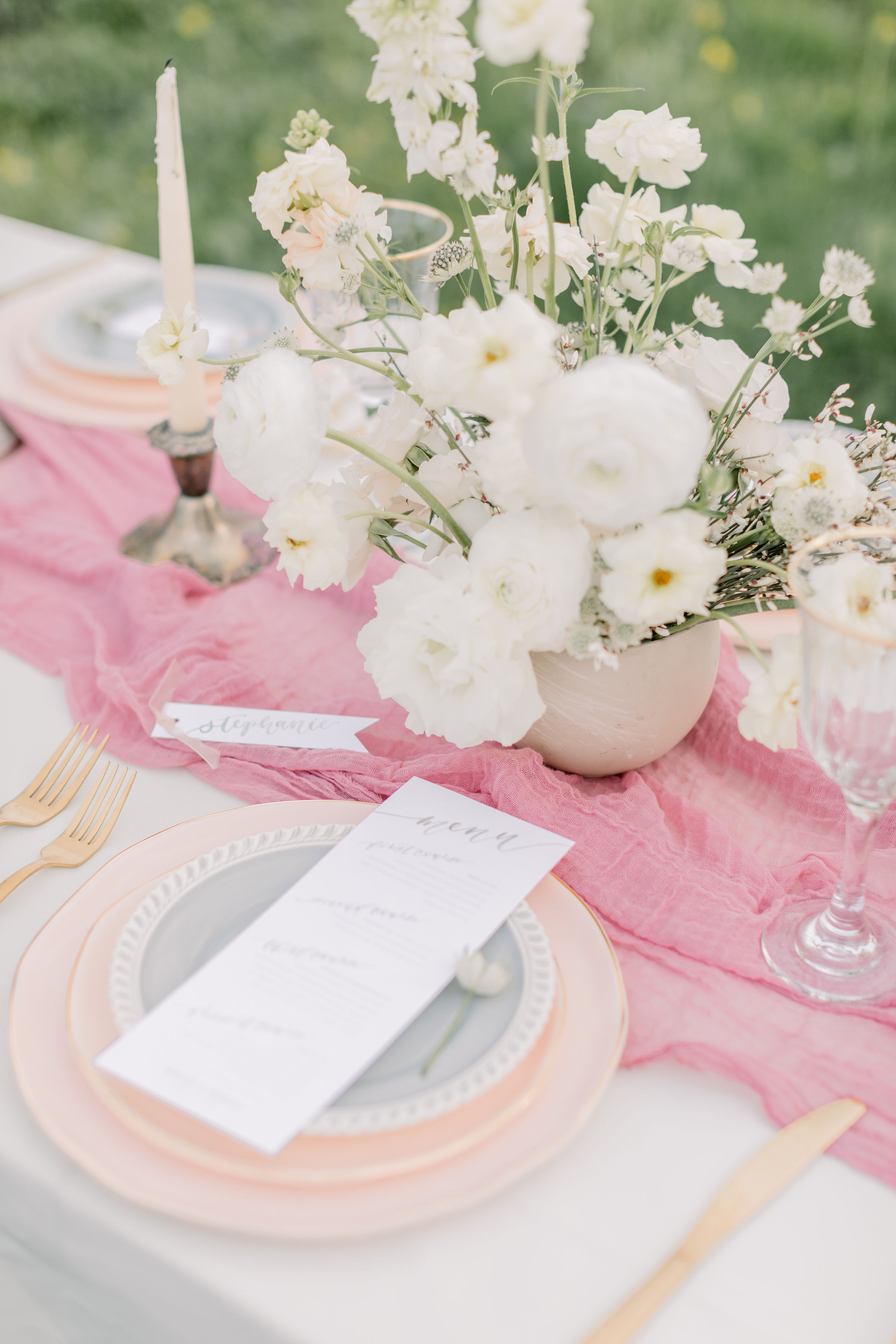 StephanieWeberPhotography-Green Wedding Reception Tablescape, Sam Allen Creates Watercolor Menus and Placecards