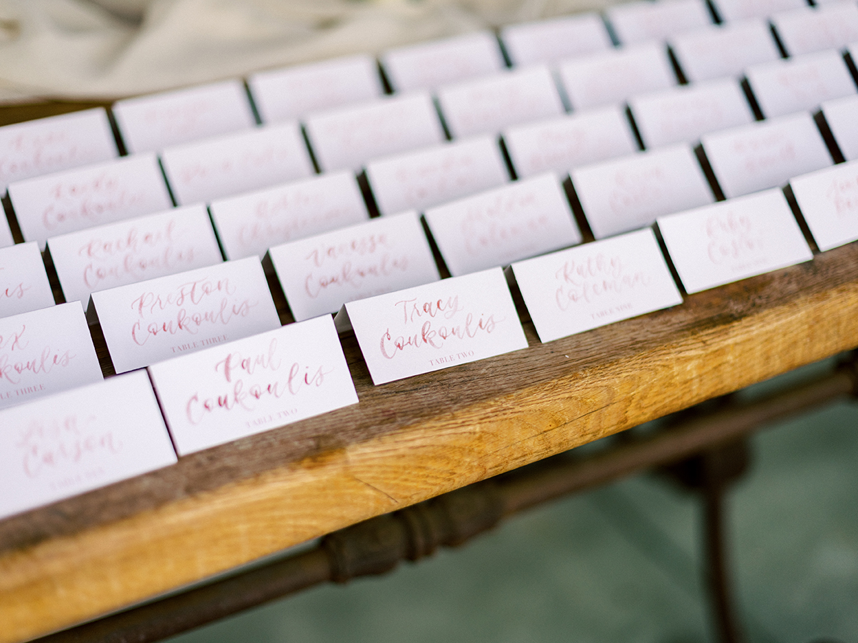 Courtney and John Travel Themed Wedding – Daniel Kim Photo 15 – Name Tent Cards with Table Numbers by Sam Allen Creates