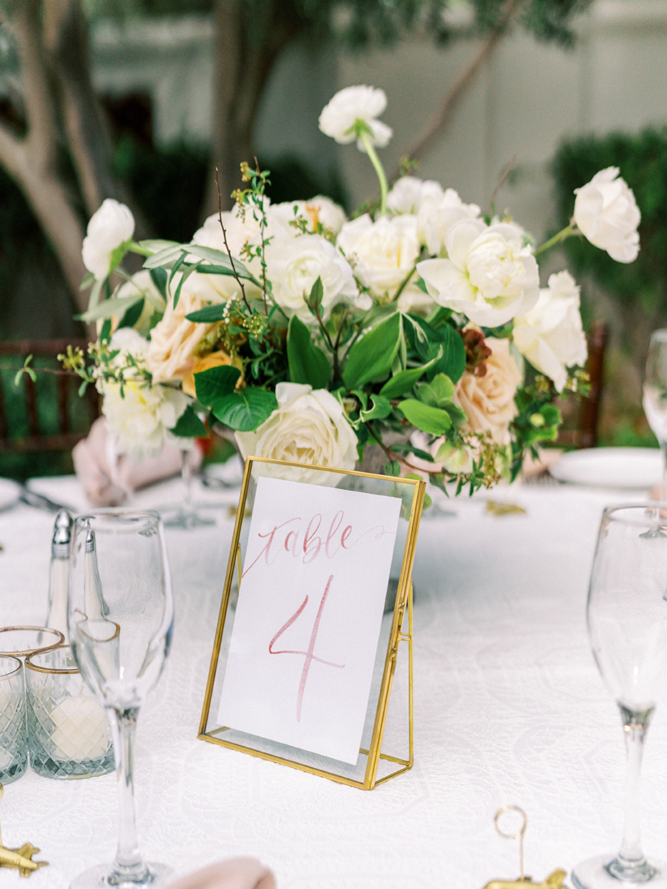 Courtney and John Travel Themed Wedding – Daniel Kim Photo 19 – Dusty Rose Watercolor Table Number by Sam Allen Creates