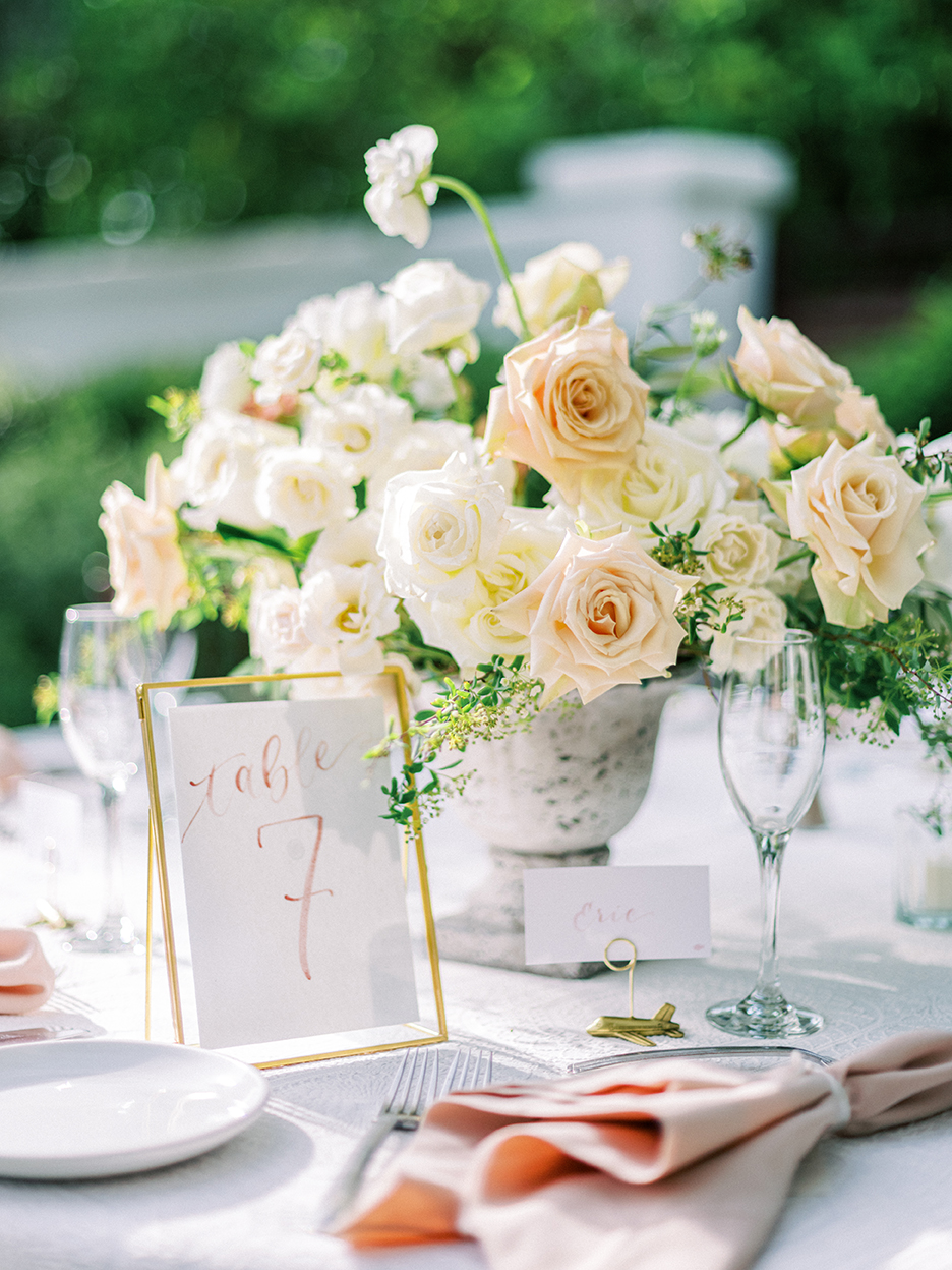 Courtney and John Travel Themed Wedding – Daniel Kim Photo 28 – Dusty Rose Watercolor Table Number and Placecard by Sam Allen Creates