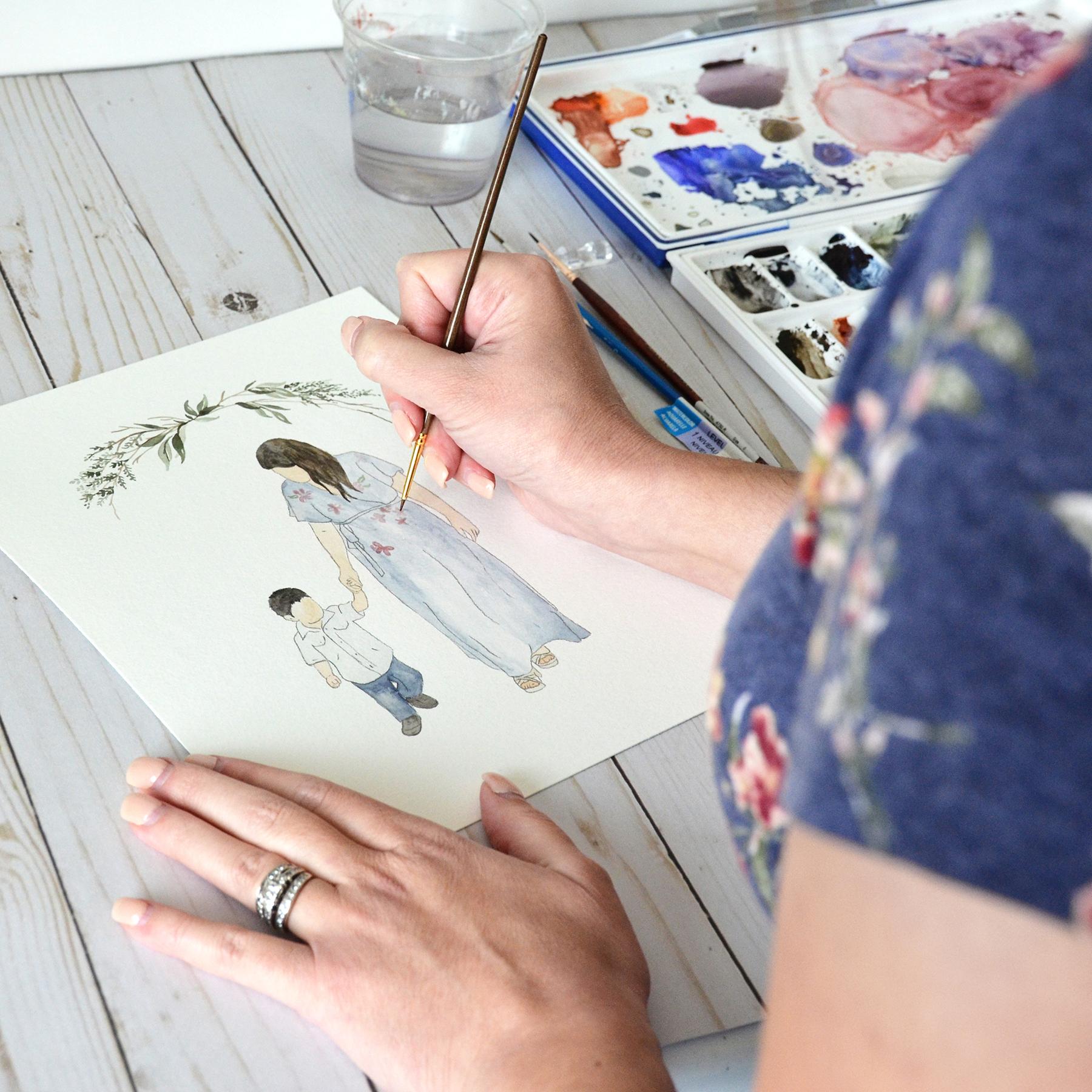 Sam Allen Creates – Watercolor Faceless Portraits Handpainted