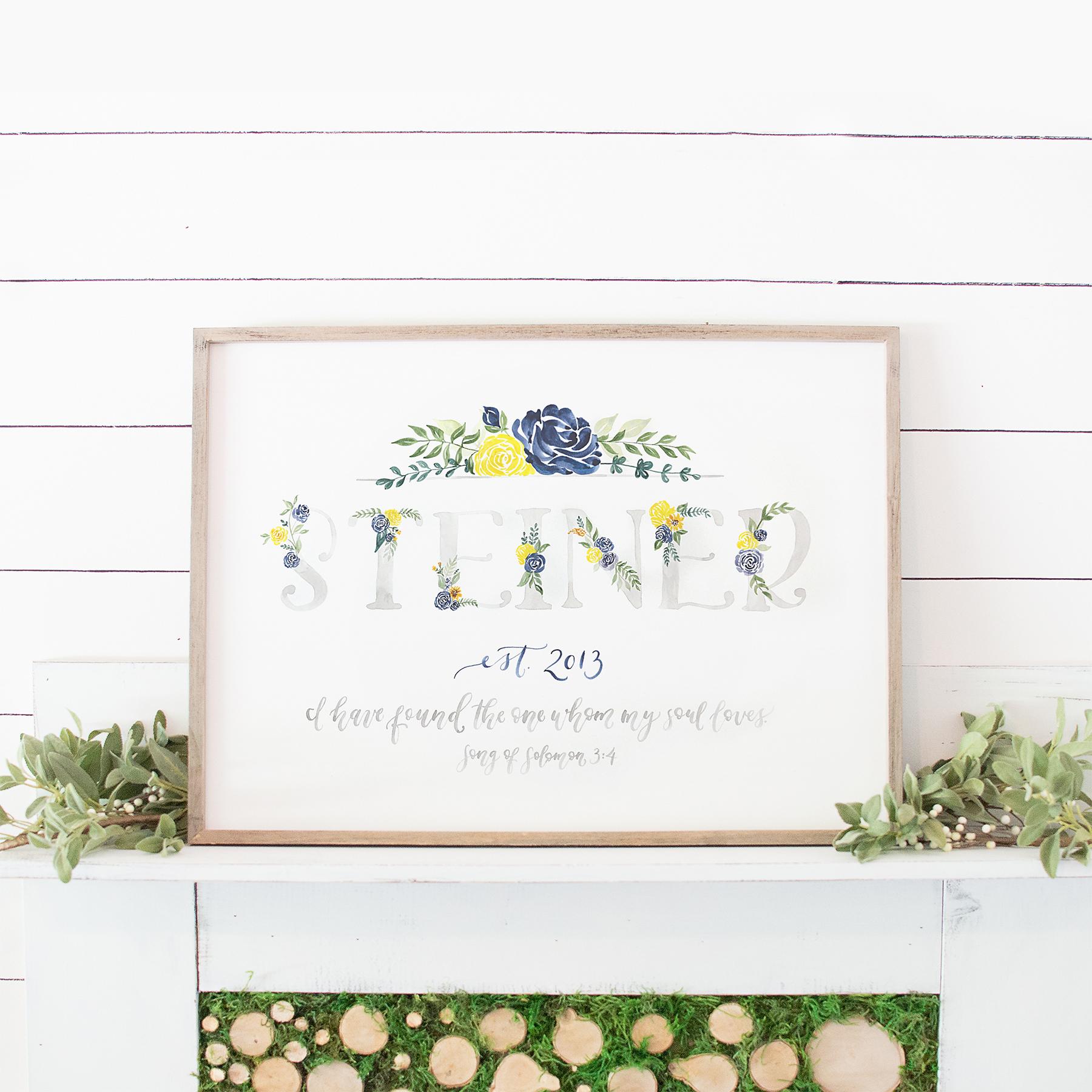 Sam Allen Creates Watercolor Floral Family Name Sign