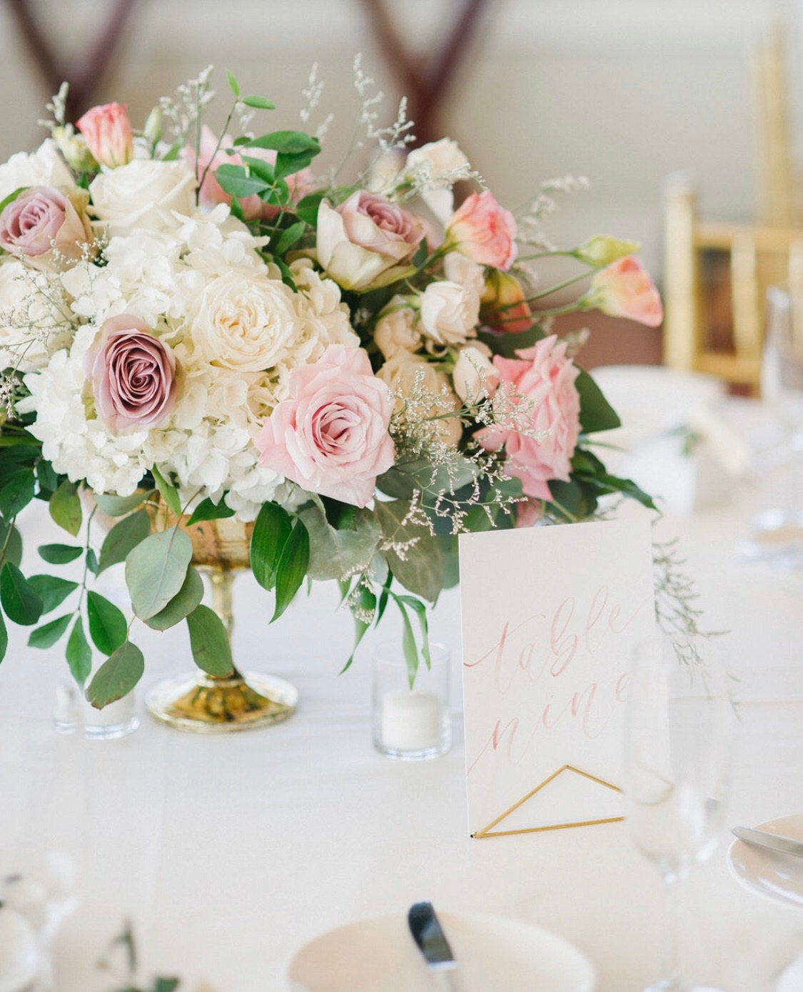 Dusty Rose and Blush Watercolor Table Numbers Olivia Gird Photography 2
