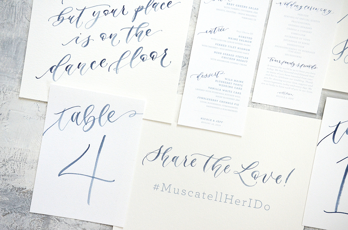 Sam Allen Creates – Navy Watercolor Painted Day of Wedding Stationery – Table Numbers, Share the Love Sign, Menus and Programs
