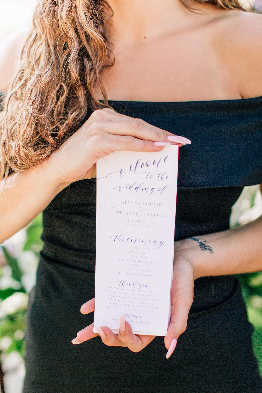 Sam Allen Creates Watercolor Wedding Ceremony Program, Jenna Bechtholt Photography