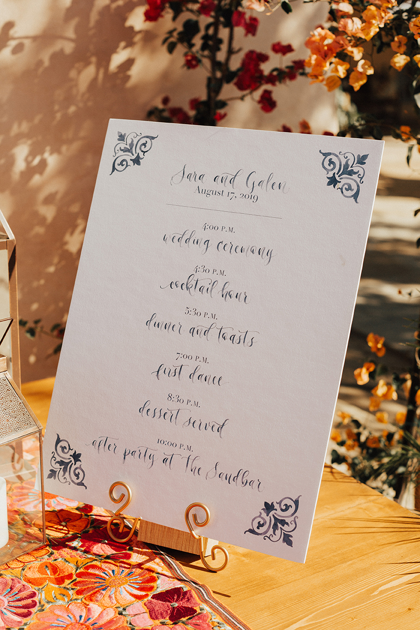 Sam Allen Creates Watercolor Wedding Schedule of Events Poster Details, Heirlume Photography
