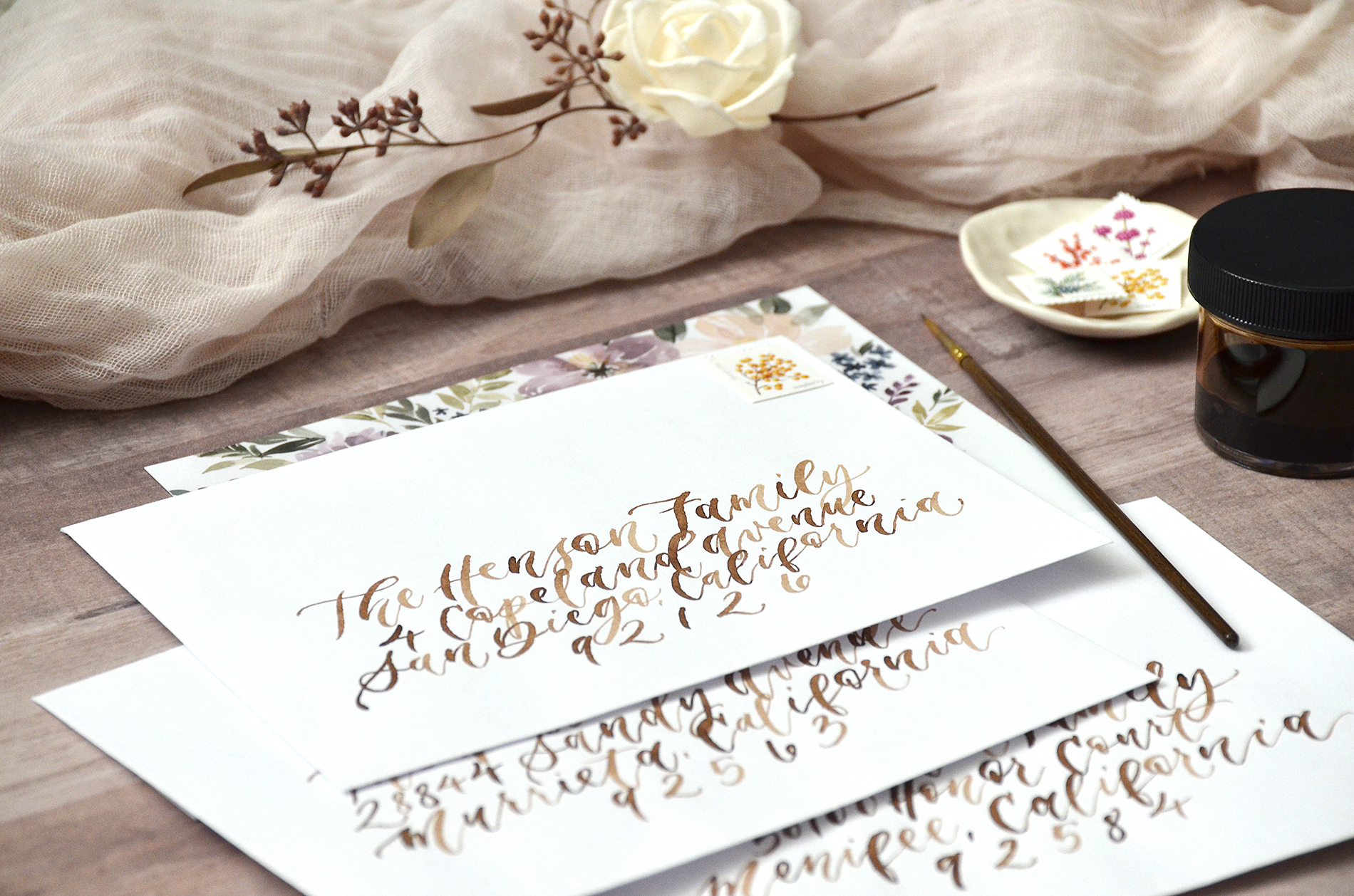 Christmas Card Envelope Calligraphy by Sam Allen Creates, Watercolor Walnut Ink