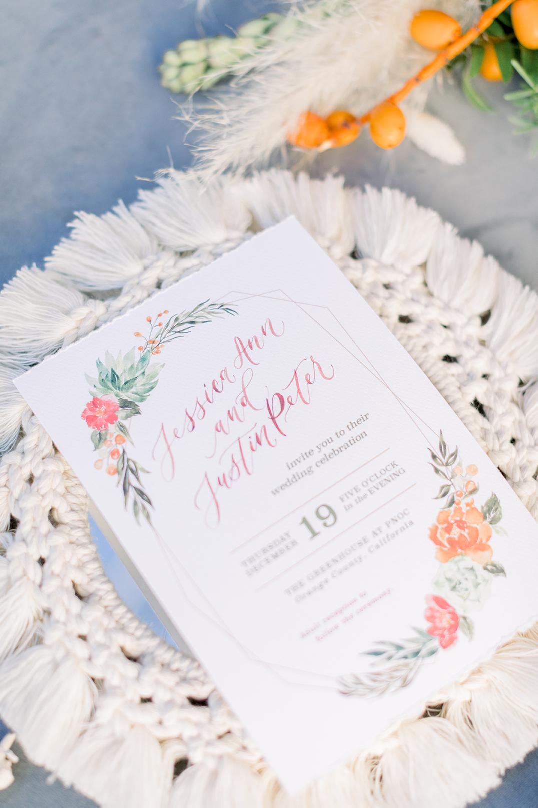 SWP-TheGreenhouse Boho Wedding Inspiration-Sam Allen Creates Wedding Invitation with Succulents Detail