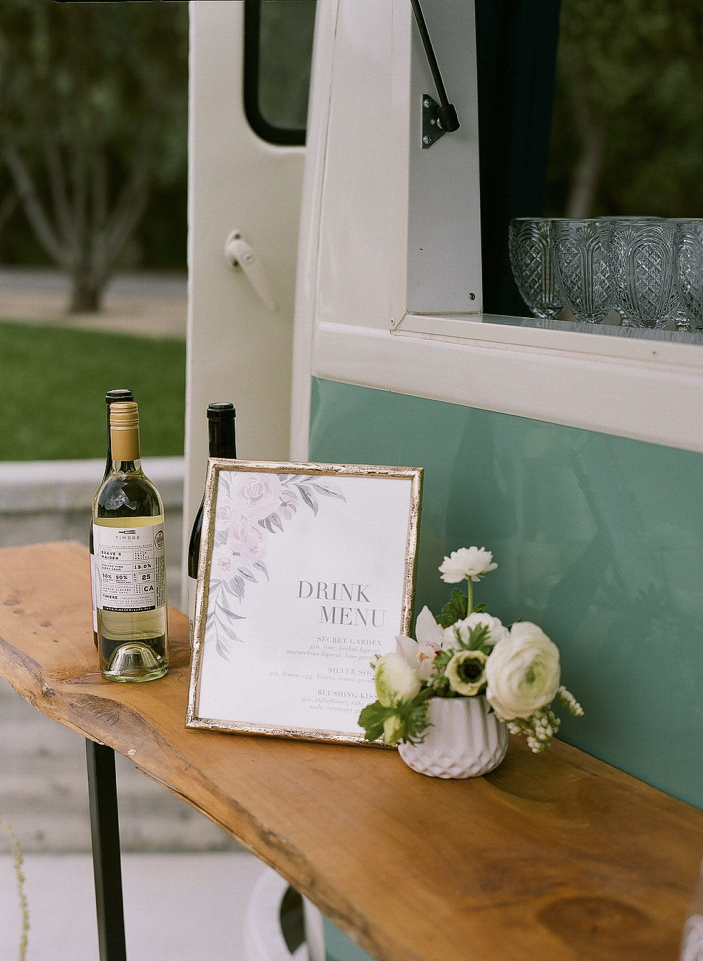 Higuera Ranch, San Luis Obispo Wedding Blush Watercolor Floral Wedding Reception Drink menu by Sam Allen Creates 32540010 szudesigns