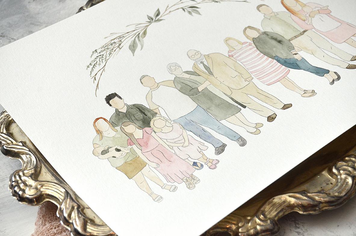 Faceless Watercolor Portrait of Extended Family Reunion Keepsake by Sam Allen Creates detail