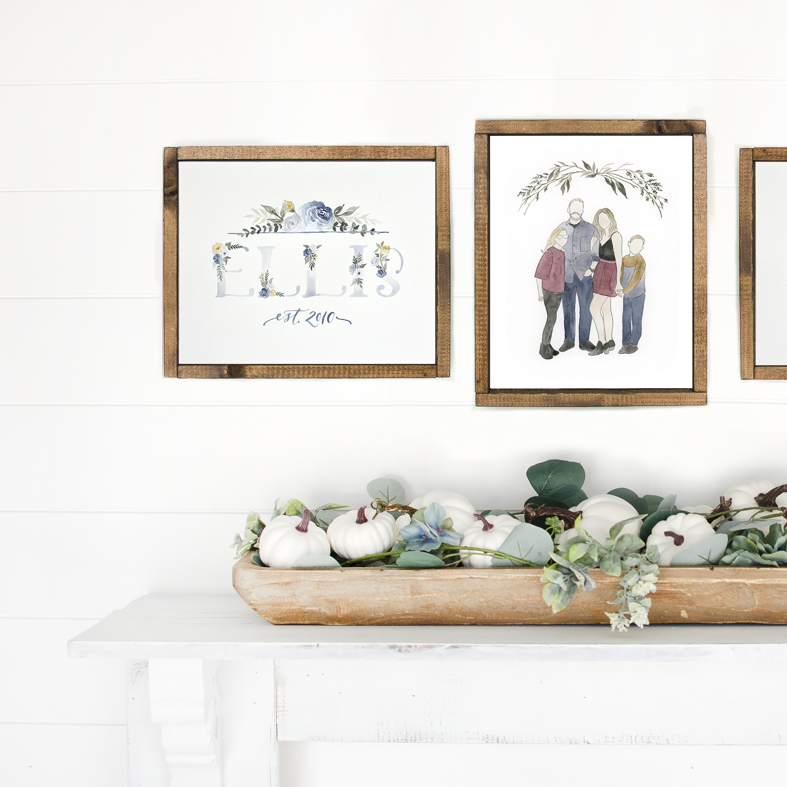 Farmhouse Decor Custom Watercolor Paintings, Floral Last Name Sign and Family Portrait