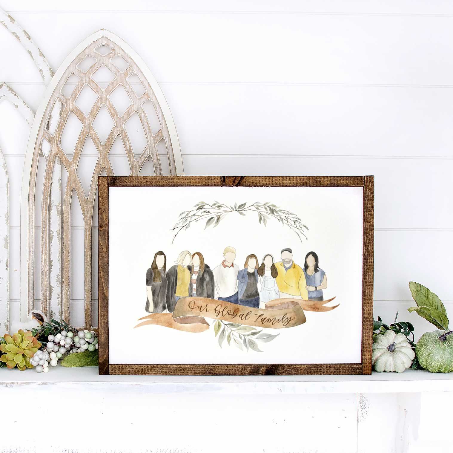Watercolor Family Portrait of Exchange Student Family by Sam Allen Creates