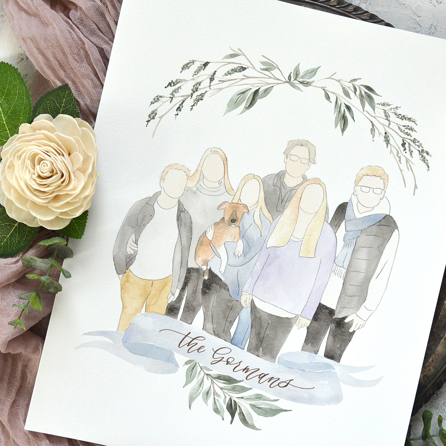 Sam Allen Creates – Faceless Watercolor Family Portrait with Wreath and Last Name Banner Sign, Gorman