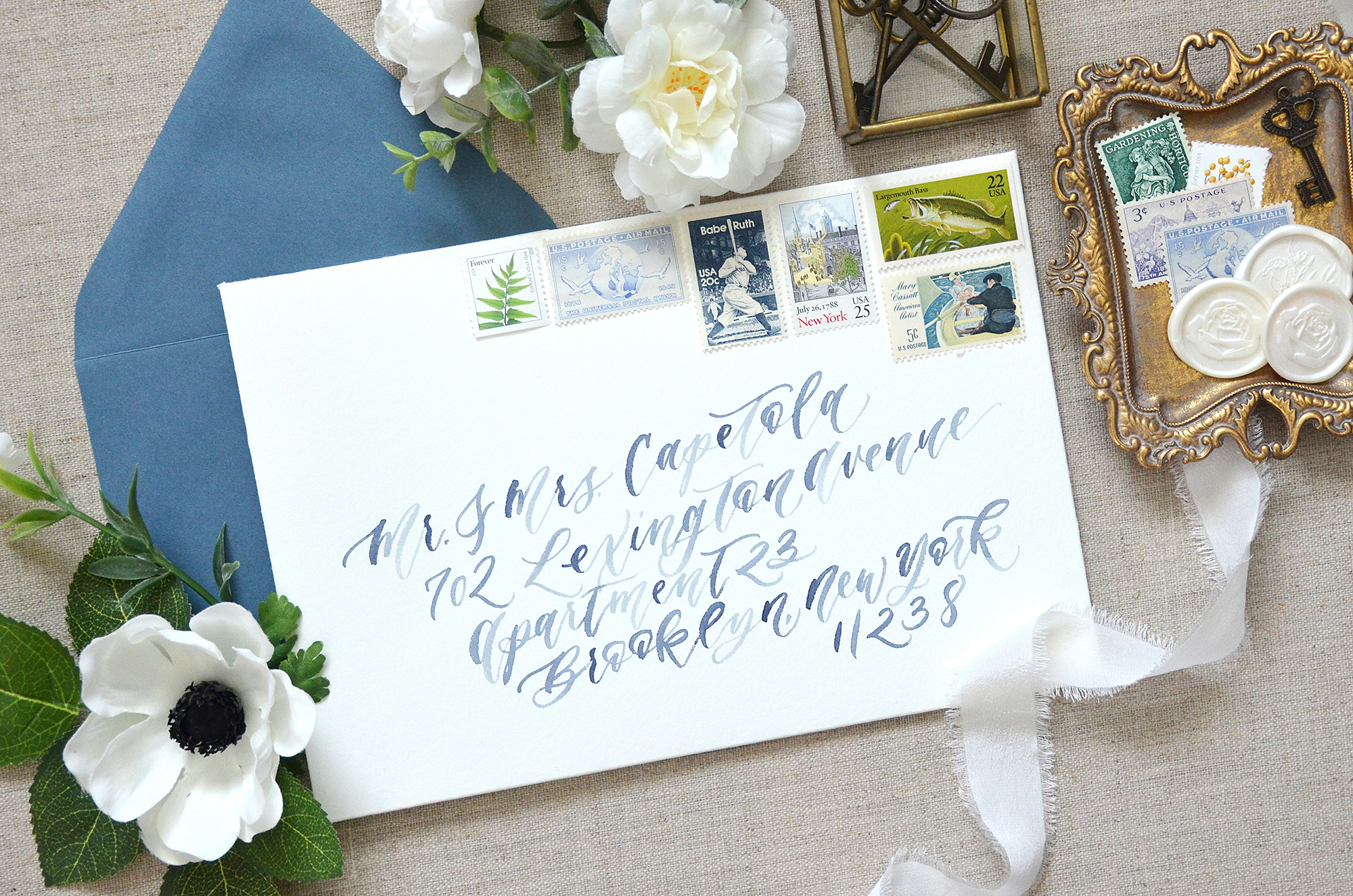 Sam Allen Creates – Watercolor Brush Calligraphy Wedding Invitation Envelopes with Vintage Postage Stamps
