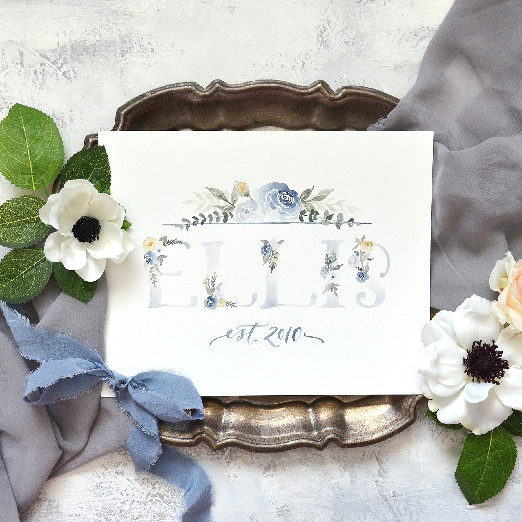 Sam Allen Creates – Watercolor Floral Family Last Name Sign, Ellis