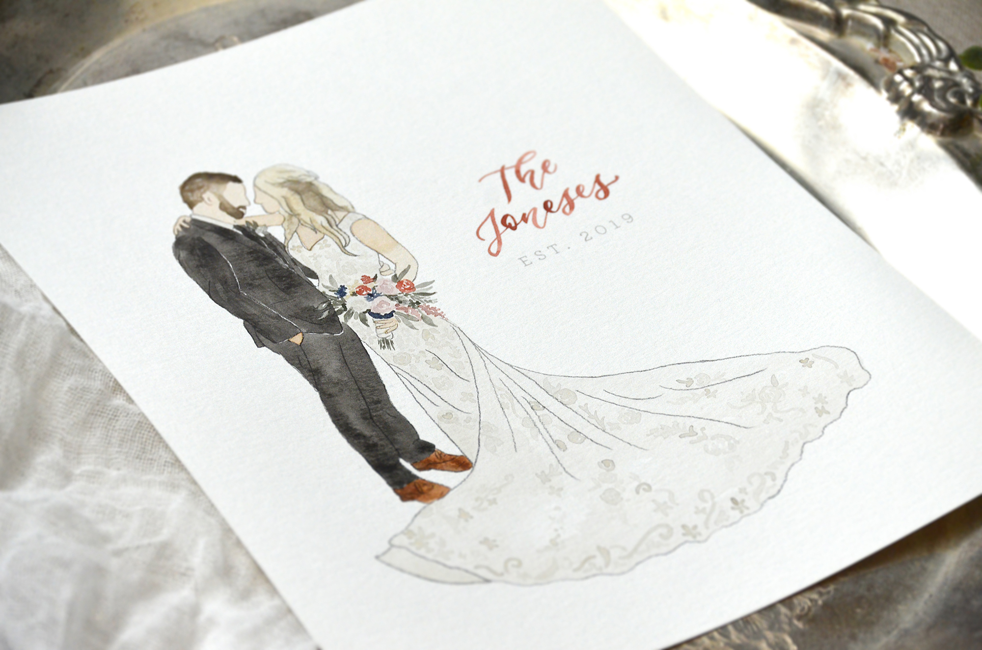 Sam Allen Creates – Watercolor Wedding Portrait, The Joneses