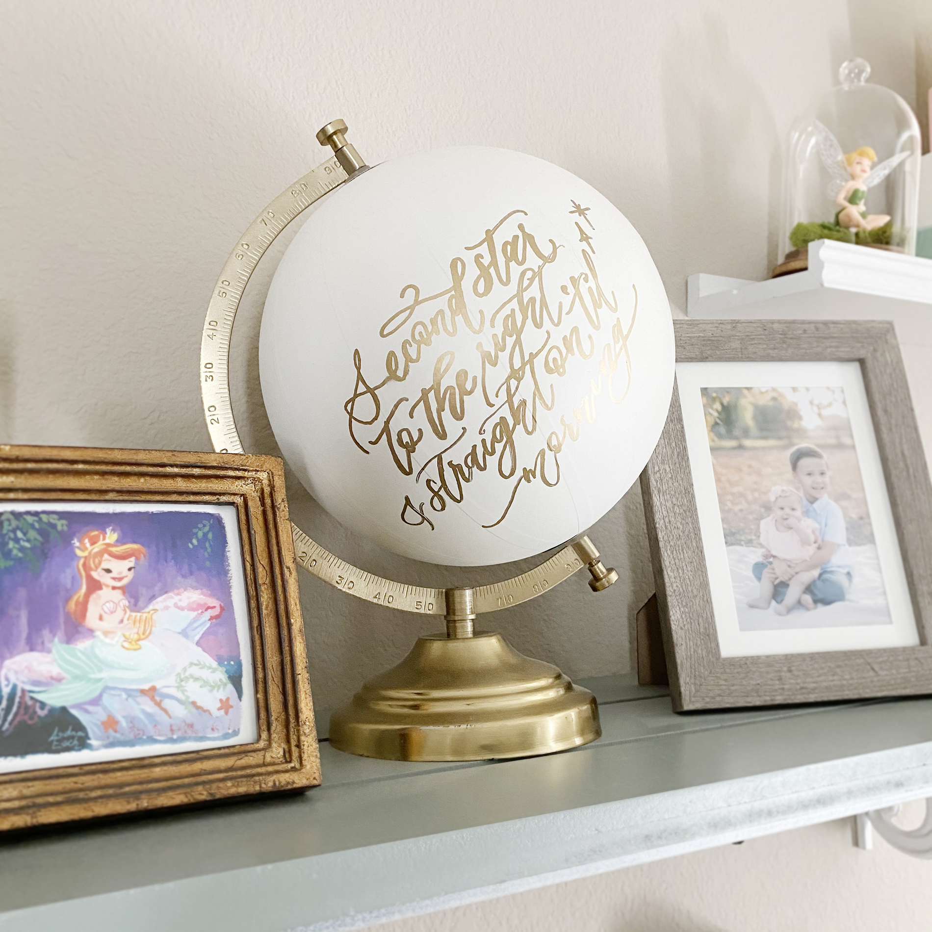 Neverland Baby Girl Boho Nursery Shelves with Handlettered Globe Second Star to the Right