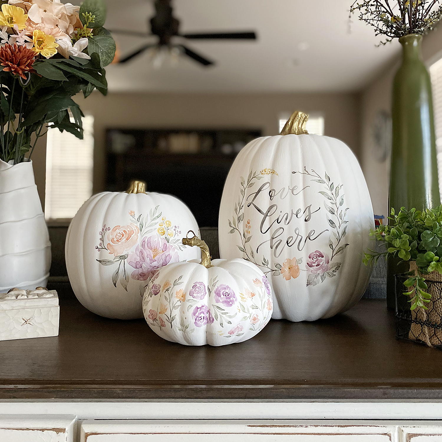 Handpainted Watercolor Floral Craft White Pumpkins for Fall Thanksgiving Decor by Sam Allen Creates
