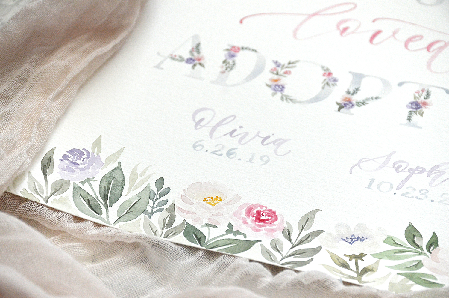 Sam Allen Creates – Wanted Chosen Loved Adopted Watercolor Floral Adoption Poster with Child's Name and Date