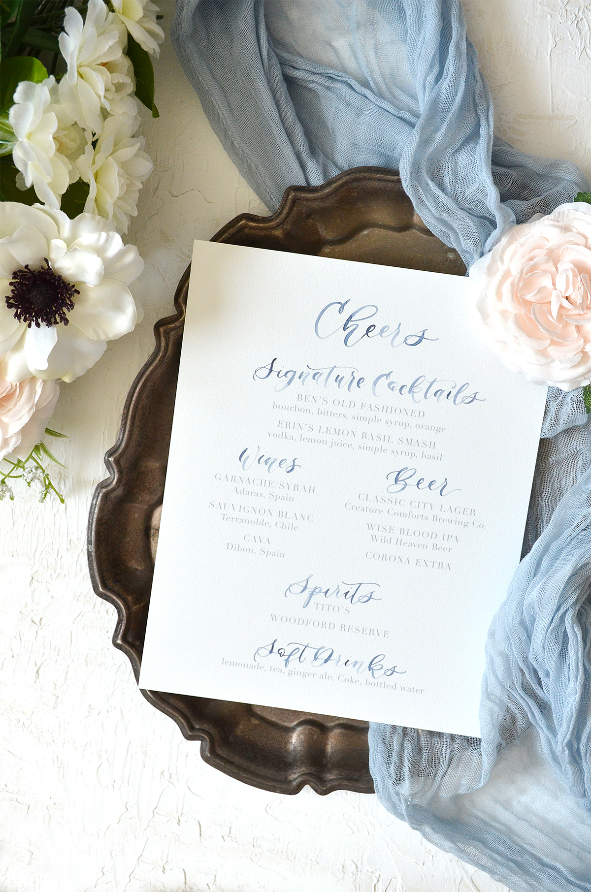 Watercolor Cheers Wedding Reception Drink Menu Sign from YourNewFriendSam on Etsy