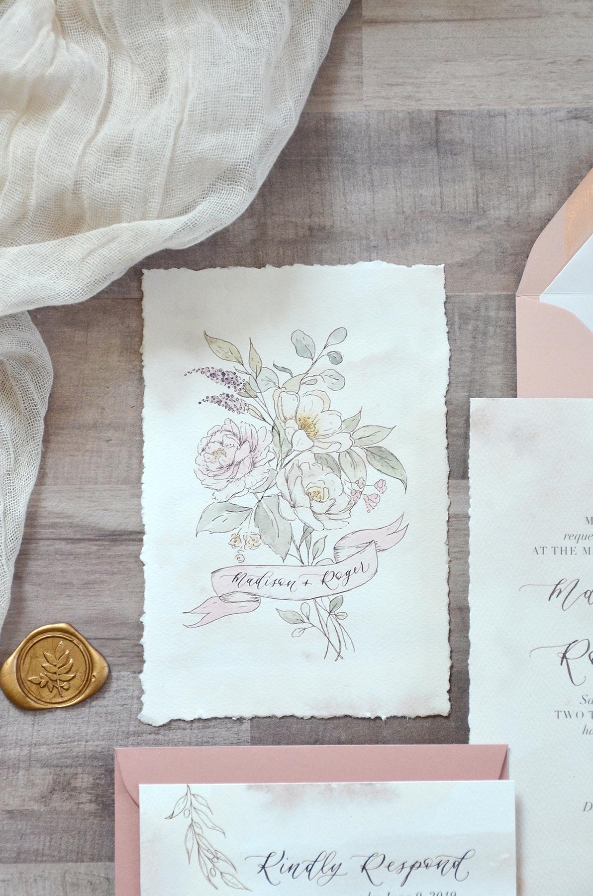 Sam Allen Creates Rose and Floral Botanical Illustrated Wedding Invitation Suite with Handtorn Edges Print