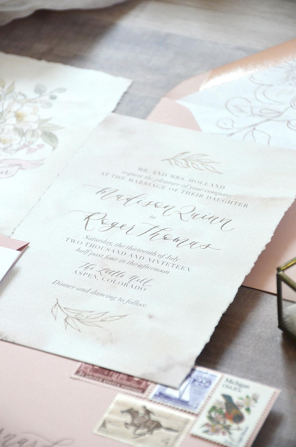 Sam Allen Creates Rose and Floral Botanical Illustrated Wedding Invitation Suite with Handtorn Edges detail