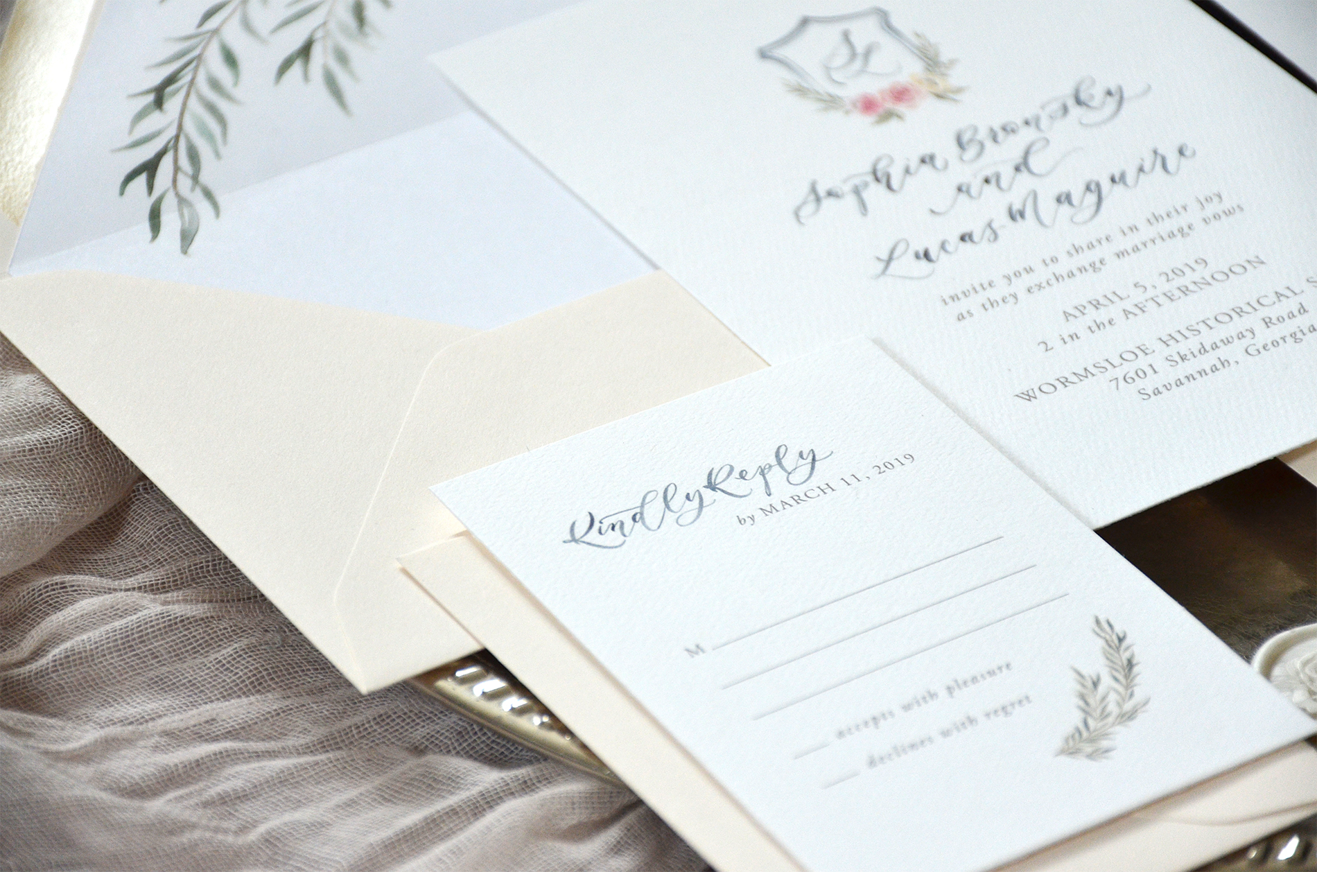 Sam Allen Creates Watercolor Crest Wedding Invitation reply card