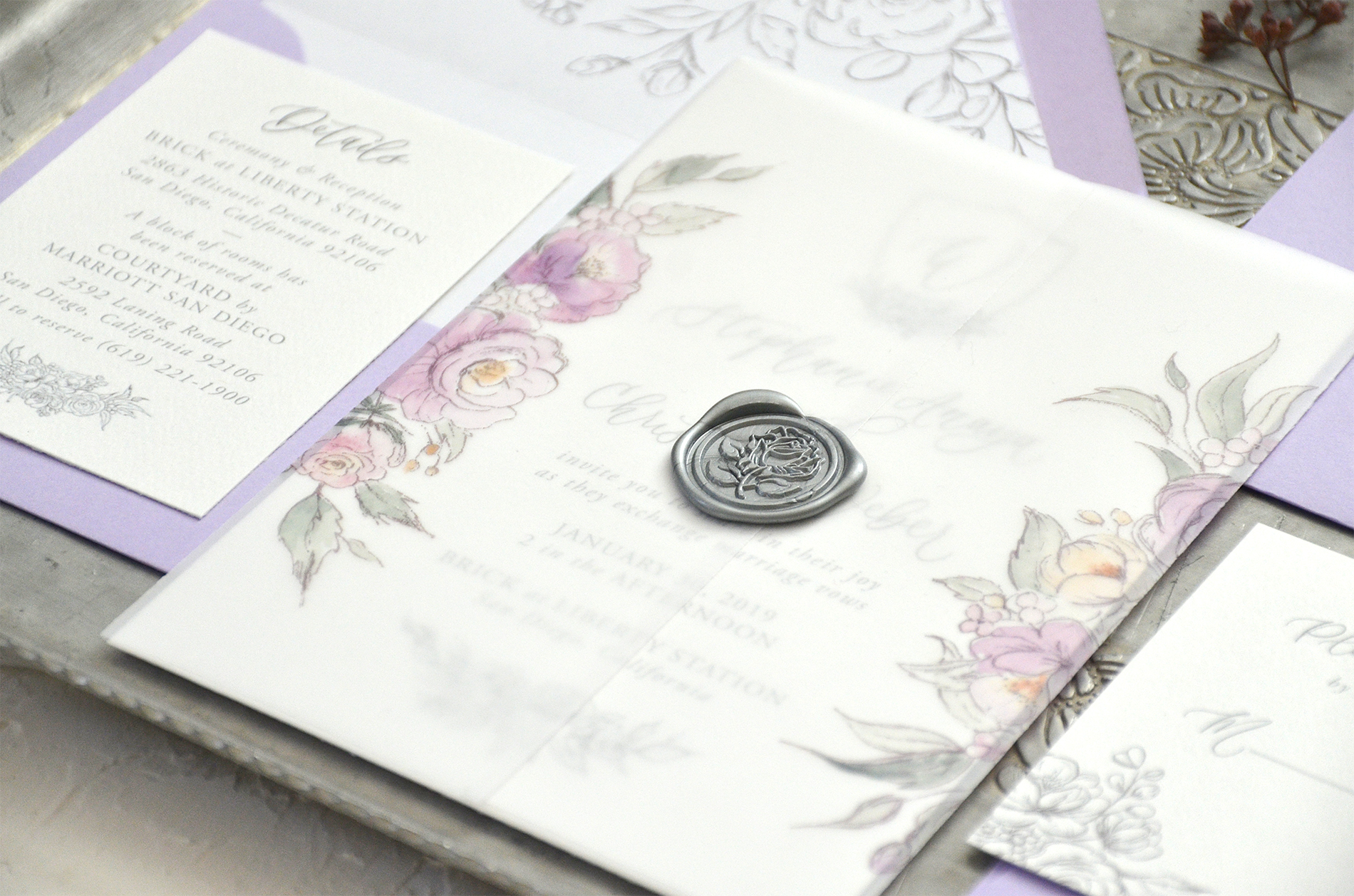 Sam Allen Creates, Watercolor Floral Vellum Wrapped Wedding Invitation Suite with Wax Seal
