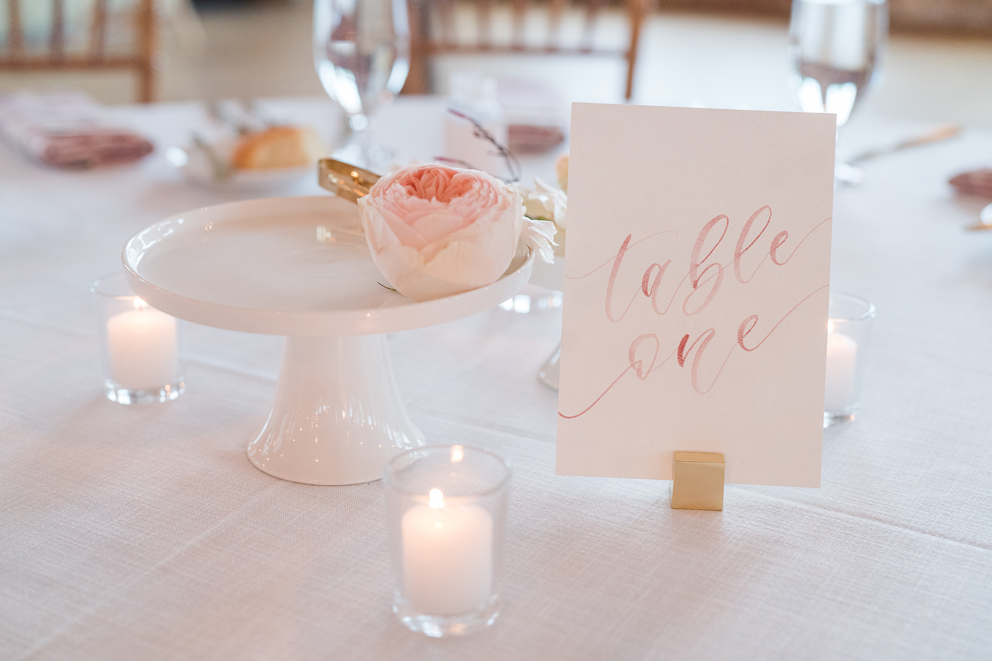 Sam Allen Creates Dusty Rose Watercolor Table Number KarenandAdamWedding-Kate Dye Photography