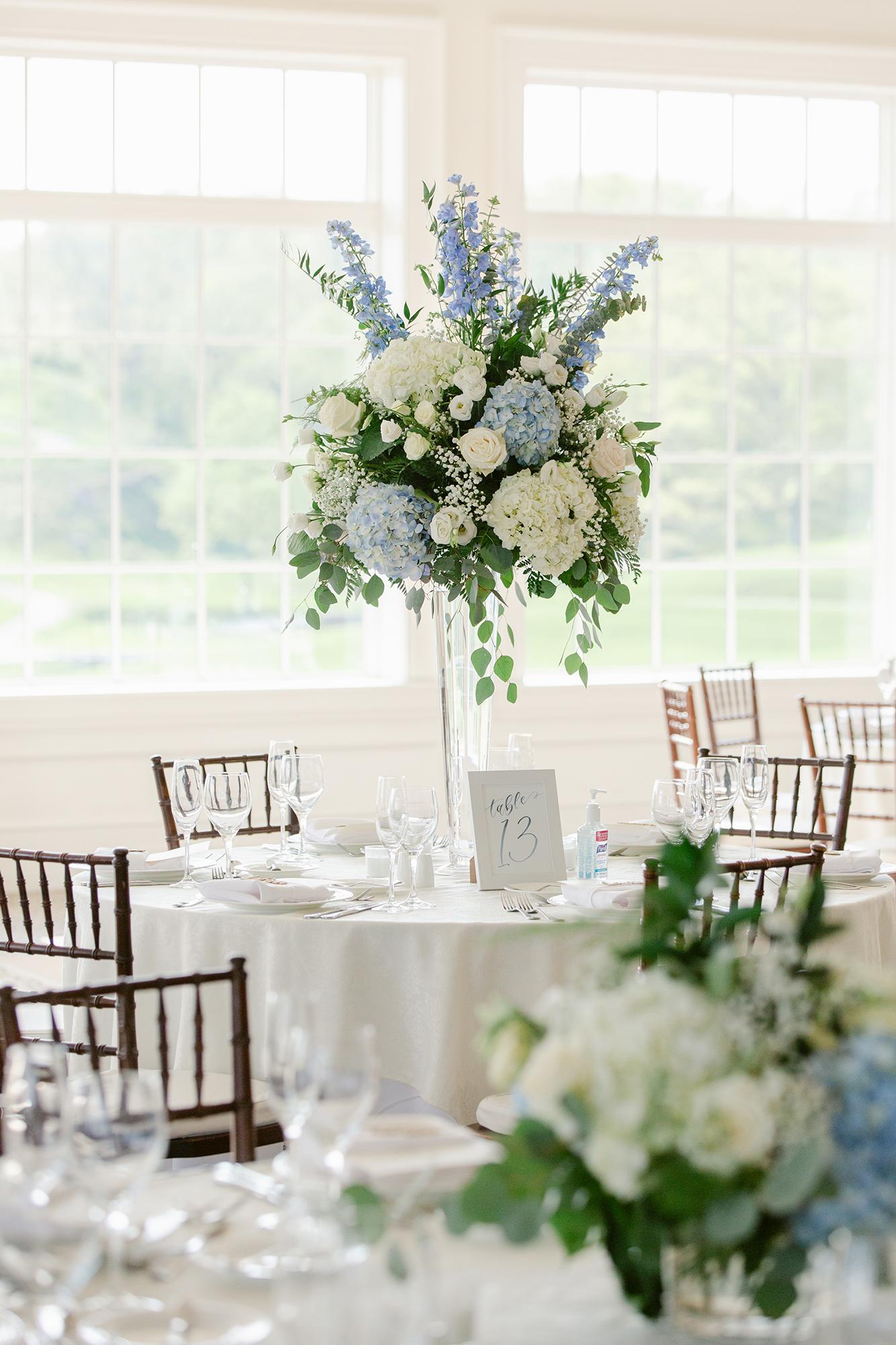 Sam Allen Creates Watercolor Table Number Sign for Wedding Reception Dinner Tablescape Katie+Mark-Wedding-719 Lauren Kearns Photography