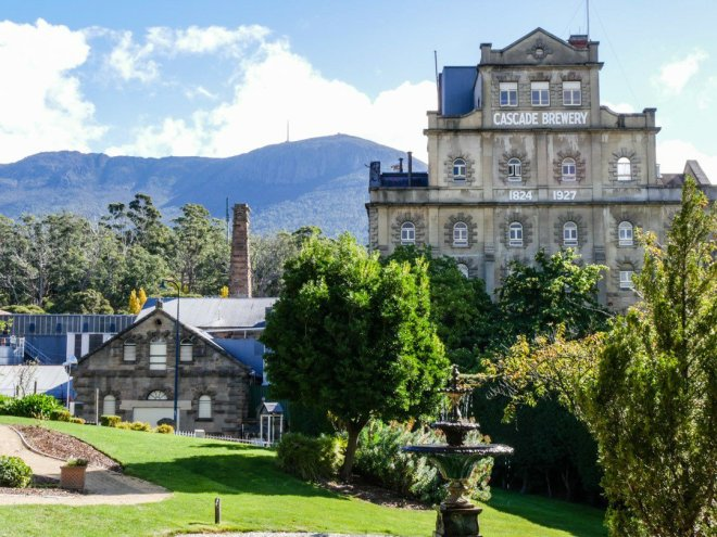 Historic Cascade Brewery with Mount Wellington in the backdrop