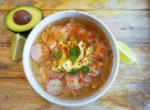 A healthy, quick, delicious to make Chicken Posole in your slow cooker!