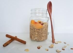 easy gluten free breakfast peach overnight oats