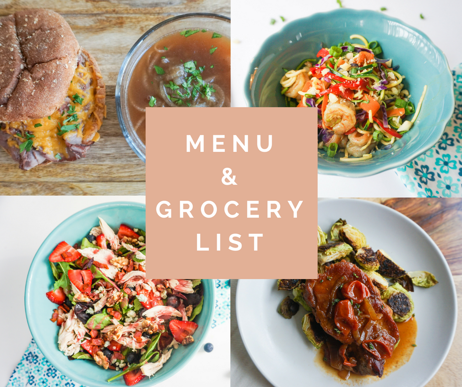 menu and grocery list june 2017 healthy easy