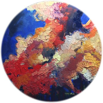 "Rotateur Acrylic and Stone on Canvas 40"" Diameter"