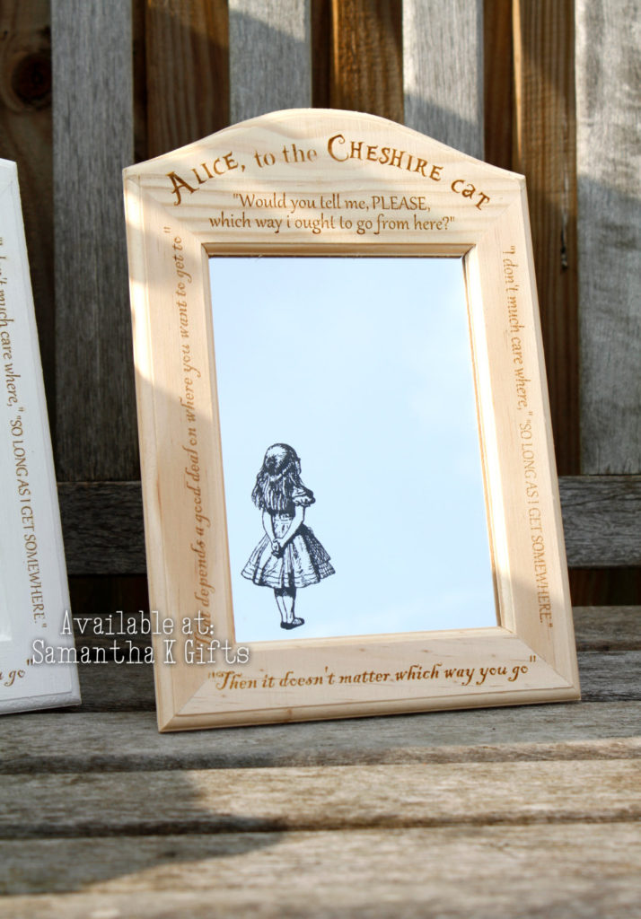 Alice Amp Cheshire Cat Engraved Mirrors In Engraved Frame