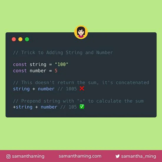 Trick to Adding String and Number | SamanthaMing.com