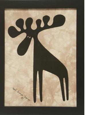 Batik, Single Moose - Framed