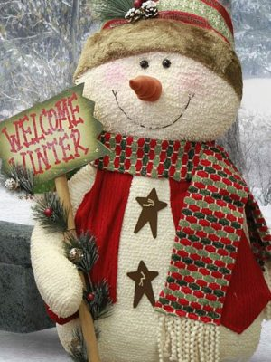 Yule Snowman with Sign