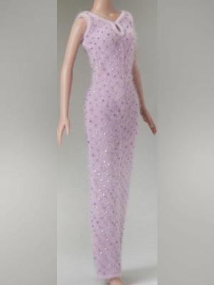 Lilac Beaded Angora Dress