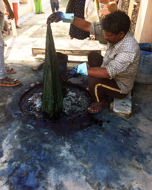 Indigo Dyeing with block printed mud resist - samanthasews blog