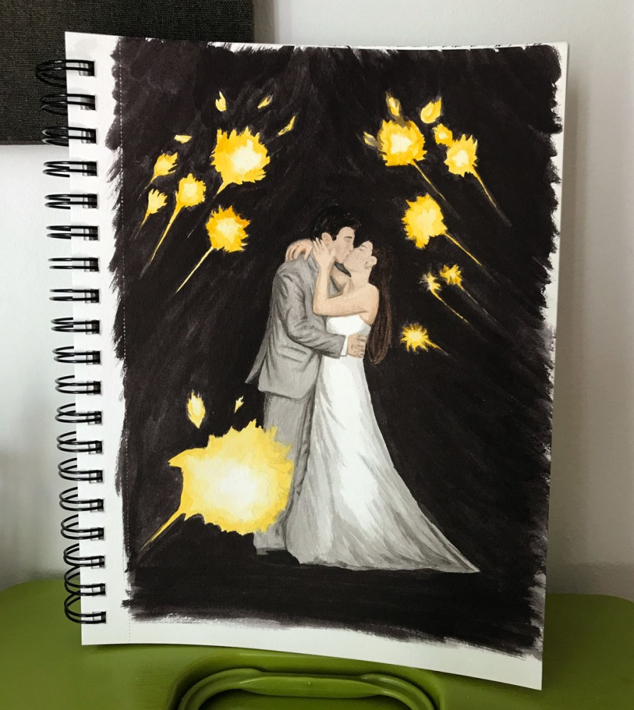 wedding watercolor painting - sparkler sendoff