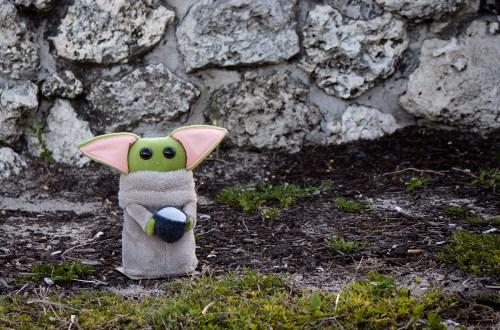 baby yoda with mug handmade plush