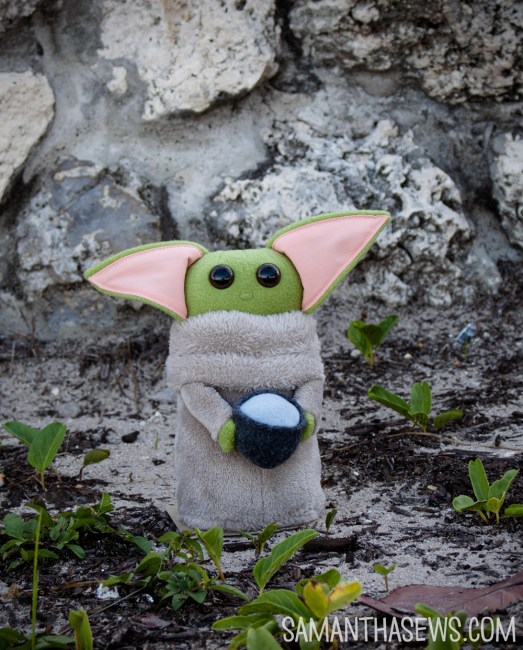 baby yoda with mug handmade plush - baby yoda stuffed animal
