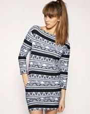 American Apparel Afrika dress - knit dress with black and white print and 3/4 sleeves